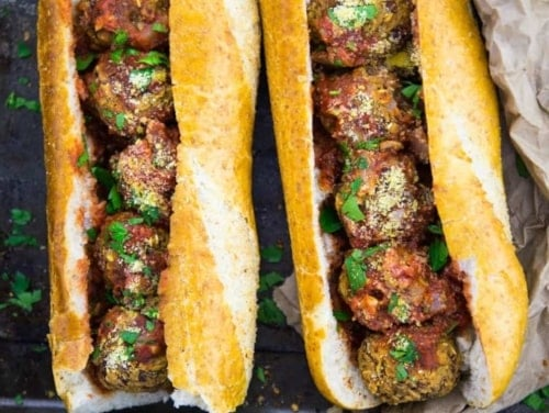 Spicy vegan meatball sub