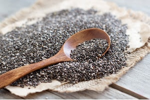 Chia seeds with a spoo