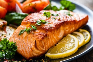 Plate of cooked salmon