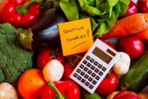 assorted vegetables with calculator