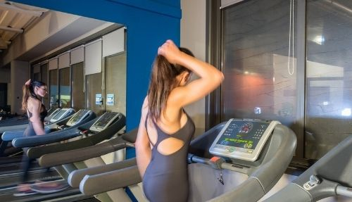Girl running at the gym